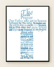 The Lords Prayer Picture Glossy Poster Print Blue Lords Prayer Script 5 Sizes