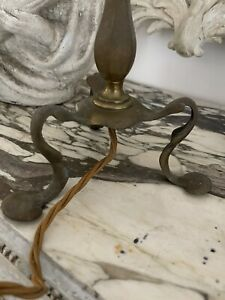 Antique Vintage French Brass Lamp Base Light Pretty And In Original Condition