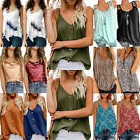 Plus Womens Sleeveless Tank Top Vest Loose Summer Causal Strappy Blouse T Shirt