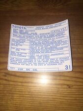 1987 Toyota Pickup Truck/4runner Emissions Info Decal Repro Sticker Cal 22R #31