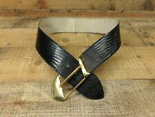Calderon Leather Belt Lizard Print Waist Wide 9877 Black Small 30 USA