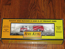 MTH Rail King O Scale MTH Transportation Company Flat Car w/ ERTL Fire Truck NIB