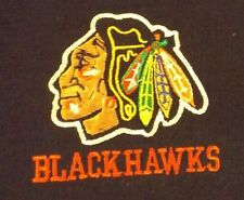 VINTAGE XL BLACK  CHICAGO BLACKHAWKS STITCHED LOGO TEE SHIRT