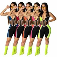 NEW Women's Sleeveless Zipper Mesh Color Patchwork Bodycon Sport Short Jumpsuit