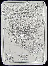 Glass Magic Lantern Slide MAP OF NORTH AMERICA AND WEST INDIES C1900 DRAWING