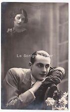 coppia innamorati d'epoca foto cartolina vintage lui pensa a lei amore romantico