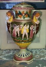 Vintage Italian Capodimonte Urn w Handles Frolicking Figurals