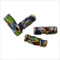 50x Colorful Flower Tube Enamel Cloisonne Beads Fit Jewelry Making On Sale LC