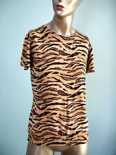 Chaps Tiger Print SS Sweater 100% Cotton Beige Sz L