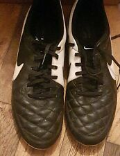NIKE Tiempo Leather Football Boots UK Size 10.5 Black White Men's