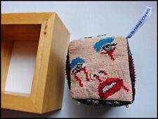 Original Embroidered Contemporary Folk Art Brut Wall 3d Cube CRISTABEL CHRISTO