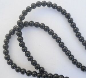 Onyx, Round Glossy 4mm beads on 38.5cm strand