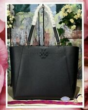 NWT TORY BURCH MCGRAW Carryall Large Tote Shoulder Bag In BLACK Pebbled Leather