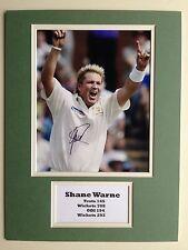 "Australia Cricket Shane Warne Signed 16"" X 12"" Double Mounted Display"