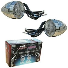 PAIR OF SPEAKERS CHROME WATERPROOF PYLE PLMCS62 PLMCS 62 DA 600 WATTS MAX MOTO