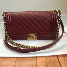 Authentic Chanel Red Lamb Skin Le Boy Bag Old Medium