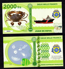 ILE JUAN DE NOVA ● TAAF / COLONIE ● BILLET POLYMER 2000 FRANCS ★ N.SERIE 000004
