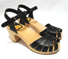 Swedish Hasbeens Fredrica Womens Leather Wooden Sandals  EUR 41