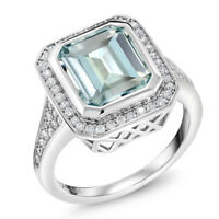 5.00 Ct Women's 925 Sterling Silver Octagon Cut Simulated Aquamarine Ring