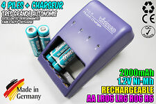 CHARGEUR VIVANCO CHARGER + 4 PILES ACCUS RECHARGEABLE NI-MH 1.2V AA 2000MAH LR06
