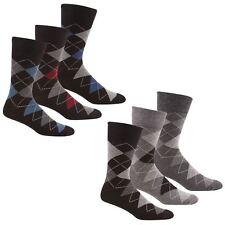 6 Pairs Of Men's Non Elastic Argyle Socks, Soft Grip Comfort Fit, Size 6-11, B44