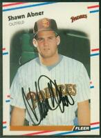 Original Autograph of Shawn Abner of the San Diego Padres on a 1988 Fleer Card