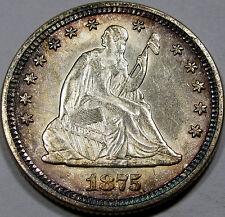 1875 Seated Liberty Quarter Dollar Choice BU MS++ Super Flashy, Superb Rim Tone!