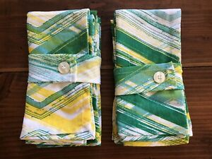 2 PACKS (8) of Room essentials 100% Cotton Napkins Green/yellow