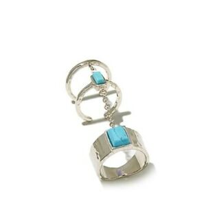 HSN Studio Barse 14K White Gold Over Multi Turquoise Chain Stack Ring Size 12