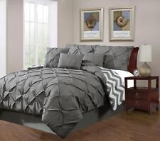 7 Piece Plush Modern Pinch Pleated Grey Comforter Set - Queen Size