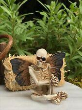 Miniature Dollhouse FAIRY GARDEN ~ Mini HALLOWEEN Skeleton w Butterfly Wings NEW