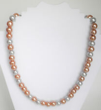 """Champagne gold 8mm glass pearl and pink quartzite 8mm bead necklace 19.5"""" ext 2"""""""