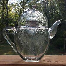Rare Cut Glass Etched Teapot