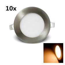 10X 6W 105mm Rund LED Panel Einbaustrahler Dimmbar Ultraslim Leuchte Silber Weiß