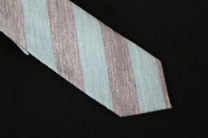 Penguin Men's Stripe Teal Slim Blue Neck Tie