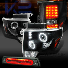 09-14 F150 Black Halo Projector Headlights+LED Tail Lamps+Smoke LED 3rd Brake