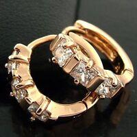 EARRINGS HOOP HUGGIE REAL 18K ROSE G/F GOLD GENUINE DIAMOND SIMULATED DESIGN