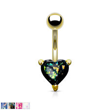 Opal Glitter Heart Prong Set Gold IP 316L Surgical Steel Belly Bar / Navel Ring