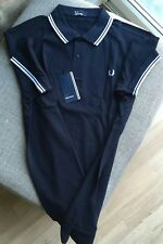 Fred Perry Polo Shirt Navy White Size Large Twin Tipped M1200
