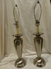 "StyleCraft Brushed Pewter Modern Table Lamp Pair (2) Living Room Bedroom Set 29"""