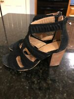 Crevo Women's Portia Sandals, Black Suede, Size 7.5, NWOB
