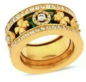 SIMULATED DIAMOND REGAL STACK RING yellow gold over stainless steel sz 8