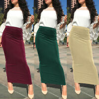 Women Muslim Knit Skirt Bodycon Slim High Waist Stretch Long Maxi Pencil Skirt