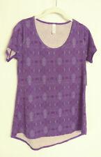 Lularoe Classic T Shirt Short Sleeve Purple Geometric Print Size XXS #6054