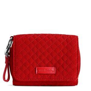 Vera Bradley **CARDINAL RED MICROFIBER**  Iconic RFID Card Case WALLET NWT