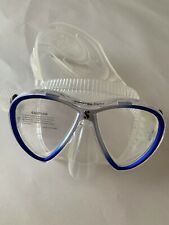 SCUBAPRO SYNERGY TWIN DIVE MASK, CLEAR/SILVER/BLUE NEW