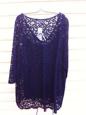 STYLISH AUTOGRAPH N BLUE LACE LINE 3/4 SLEEVE TOP SIZE 26 BNWT