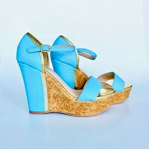Qupid Gold and Light Blue Wedge With Cork Slide Women Shoes Size 6.5