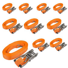 10X Heavy Duty Ratchet Tie Down Straps Recovery Truck Shipping Tow 3T/6600lb