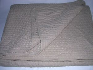 012O Pottery Barn King Cal King PICK STITCH Flax LINEN BLEND QUILT 2 SHAMS EUC